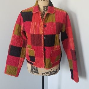 Sz S Patchwork Jacket Reversible Stripes